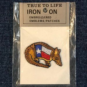 Texas armadillo embroidered iron-on patch NWT